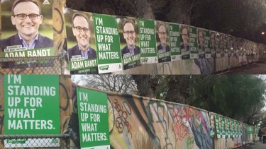 Greens posters on Best Street in Fitzroy North, on Friday night (above) and on Saturday morning (below).