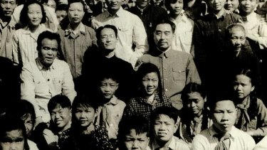 Middle row, second from left: Taken on April 20, 1960, He Di's father, He Kang, sits next to then Chinese premier Zhou Enlai, on right. He Di is directly below his father.