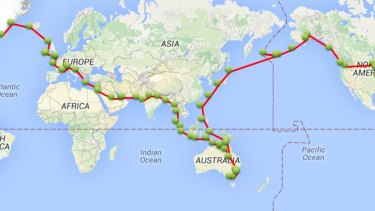 Michael Smith's flying route around the world.