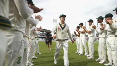 Michael Clarke leaves the ground after his last Test match.
