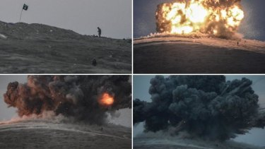 Hitting back: The latest US air strikes hit the hill near Kobane forcing militants to flee.