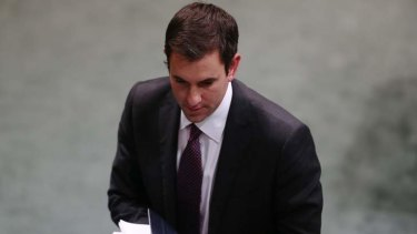 Labor MP Jim Chalmers leaves the chamber under 94a. Photo: Alex Ellinghausen