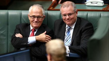 Communications MInister Malcolm Turnbull, pictured with Immigration Minister Scott Morrison, in question time on Wednesday.