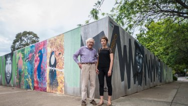 Historian Alan Foskett and resident Luisa Capezio on the old service station site at the Campbell shops. No development application has yet been lodged but the developer is considering either a six-storey complex with commercial tenancies and residences or a four-storey townhouse complex.