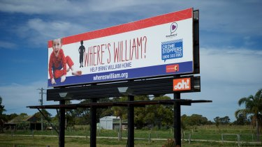 One of three billboards on the Pacific Highway for the Where's William? campaign.