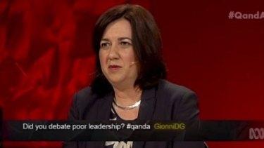 Queensland Premier Annastacia Palaszczuk responds to a question on the ABC's Q&A program.