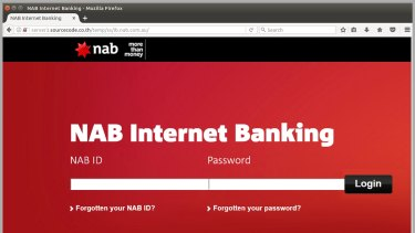 A screen shot of the fake website through which scammers try to obtain online banking details.