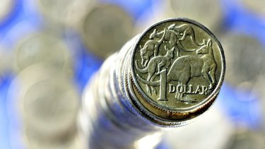 The Australian dollar hit a low of 83.92 US cents - its lowest level since July 2010 - soon after economic growth figures were released at 1130 AEDT.
