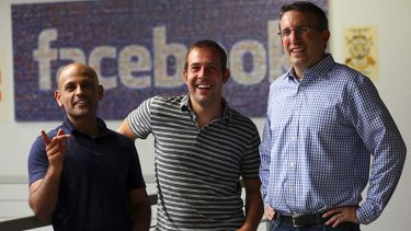 From left: Facebook executives Jay Parikh, Javier Olivan and Aaron Bernstein at the company's offices in Menlo Park, California.