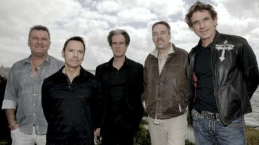 Steve Prestwich, second right, has died after surgery to remove a brain tumour. Here he is pictured with his Cold Chisel band mates in December 2009.