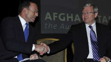 See you on Facebook: Tony Abbott and Kevin Rudd.