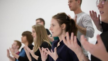 Gesture: A Swedish sign language choir sings Serenade to Music in Angelica Mesiti's The Colour of Saying.