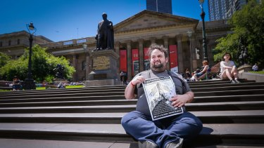 Simon Zlatkin will protest the camping ban at the State Library on Saturday.