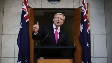 Prime Minister Kevin Rudd at his press conference confirming the September 7 poll date.