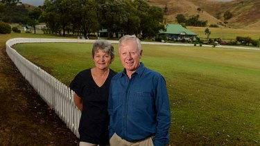 What have we done? Ros and John Rogers, parents of Test batsman Chris, at their new home - and new homeground - at Strath Creek.