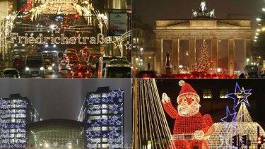 Beauty bright: Christmas lights illuminate Berlin landmarks, (clockwise from top left) Friedrichstrasse, the Brandenburg Gate, Kurfuerstendamm Avenue and the central railway  station.