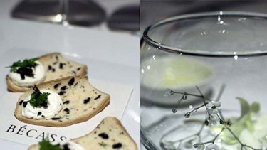 To start...  crunchy olive biscotti with a silken dollop of goat?s curd.