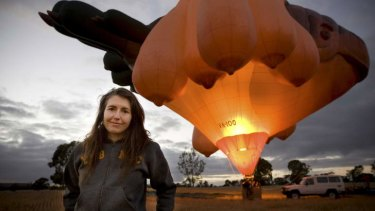 Internationally renowned artist and former Canberran Patricia Piccinini in front of the <em>Skywhale</em>.