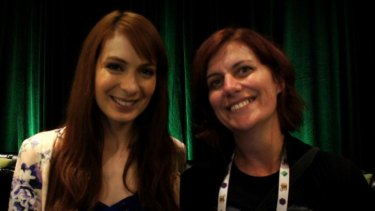 Microsoft Women in Gaming Awards nominee Giselle Rosman, pictured here with actress Felicia Day.