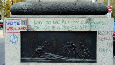The Burke and Wills statue on the corner of Collins and Swanston streets has been defaced.
