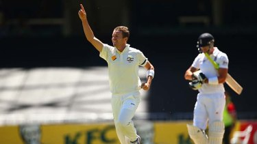 Peter Siddle celebrates the wicket of Kevin Pietersen.