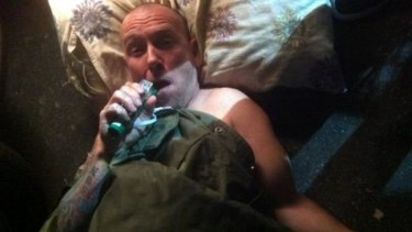 Frenzal Rhomb drummer Gordy Forman shortly after breaking his arm at a Perth show.