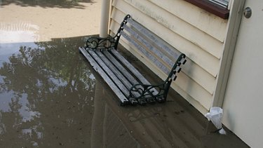 Floodwaters outside the author's home this morning.