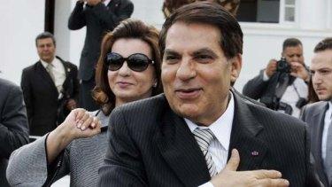 Fled ... Zine el-Abidine Ben Ali and his wife, Leila Trabelsi.