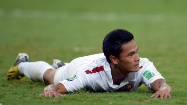 Talented: Tahiti's Steevy Chong Hue reacts during the FIFA Confederations Cup 2013 Group B match between Spain and Tahiti at the Maracana Stadium in Rio de Janeiro.