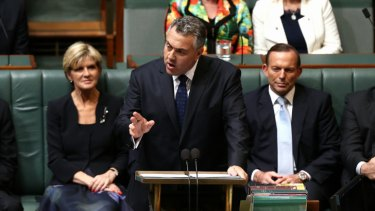 Treasurer Joe Hockey delivers the 2014 budget speech in the House of Representatives.