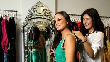 On loan ... dress lender Serena Ross with client Chloe Tortell.