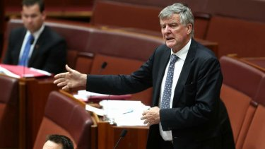 Liberal Senator Bill Heffernan during the debate in the Senate. Photo: Alex Ellinghausen