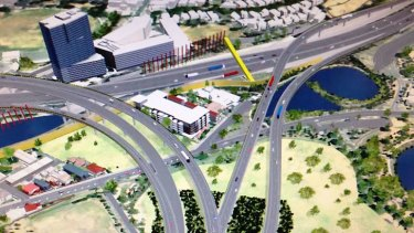 Parkville's Evo apartment building will be completely ringed by roads and flyovers under the east-west link proposal.