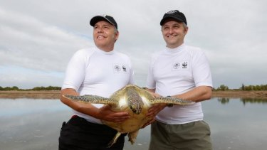 Darren Grover, National Manager of WWF Australia and Christophe Tourenq Wetland Manager.