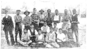 The Lake Tyres Aboriginal Station Australian rules football team, pictured in 1908.
