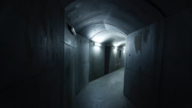Cardboard was used to create this 'concrete' corridor for the movie The Wheel, shot at Docklands Studios Melbourne.