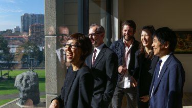 Winning architects of The Sydney Modern project from the architectural firm SANAA look out to the north of The Art Gallery of NSW where the new extension will be built.  From left is  Kazuyo Sejima, AGNSW Director, Michael Brand, Artist Ben Quilty, Yumiko Yamadaof and Ryue Nishizawa.