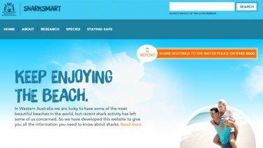 A screenshot of the WA government's new 'Shark Smart' website.