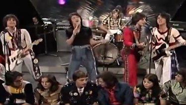 Scottish band Bay City Rollers perform 'Bye Bye Baby' in 1975.