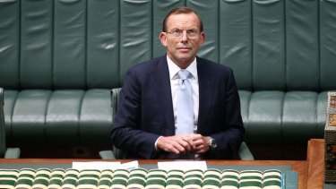 Prime Minister Tony Abbott during Question Time. Photo: Alex Ellinghausen