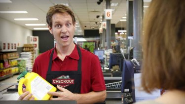 """""""Slick production"""": Craig Reucassel in a scene from the ABC consumer show The Checkout."""