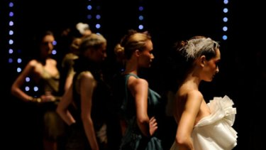 Perth model Courtney Chircop (front right) on stage at the Aurelio Costarella show at Fashion Week.