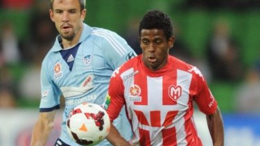 Colour clash: Melbourne Heart's new owners have applied to change the club's colours to Manchester City's sky blue, a direct clash with Sydney FC.