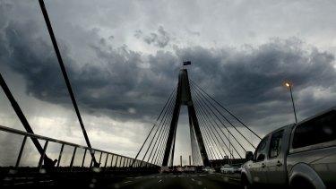 A fierce looking storm sweeps across Sydney.
