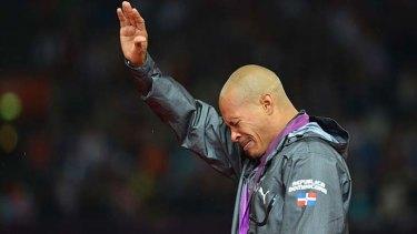 Tears on the podium ... Felix Sanchez.
