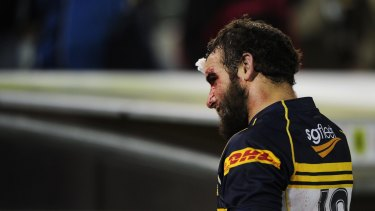 Battle wounds: Scott Fardy heads to the sheds at full-time during a Super Rugby match for the Brumbies against Otago in 2012.