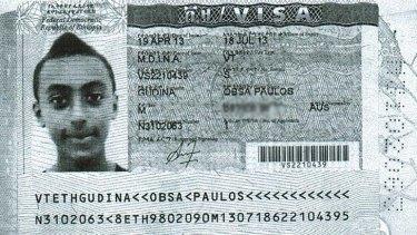 Obsa's visa in his passport.