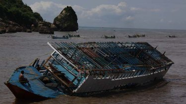 Wrecked … the boat was towed to East Javan waters.