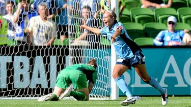 Simon coring from a penalty against Melbourne Victory in the final of W-League.