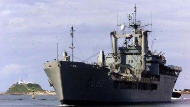 Incapacitated ... HMAS Tobruk.